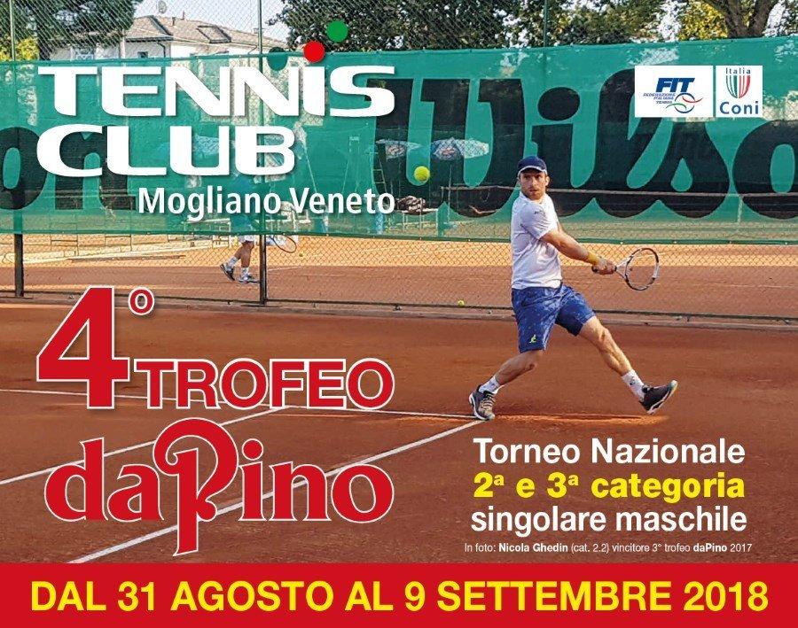 Torna il grande tennis di fine estate a Mogliano: 4° Trofeo da Pino